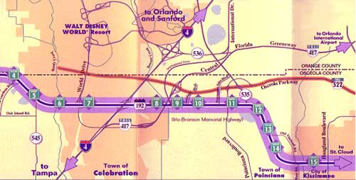 192 Highway Map Kissimmee Area at Kissimmee Tourist Information